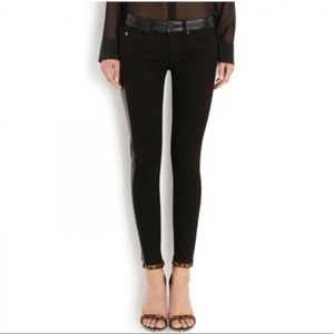 Hudson   Leather Cut Waist Skinny Jeans Size 24